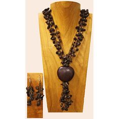 Coffee beans, congolo seed centerpiece, matching drop earrings Colombia $20.99