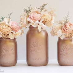 Rose Gold Decor / Copper mason jar / Painted Mason Jars Home Decor Wedding Decor Vase Centerpiece / Bestseller Fall Wedding Decor / Tawny-Bronze / Painted Mason Jars / Centerpiece / Vase / Table Decor / gold mason jar / Fall home / set of 3 Wedding Reception Centerpieces, Wedding Vases, Fall Wedding Decorations, Christmas Table Decorations, Wedding Table, Decor Wedding, Wedding Flowers, Wedding Ideas, Trendy Wedding