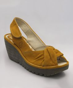 Look at this #zulilyfind! FLY London Yellow Cupido Yakin Leather Sandal by FLY London #zulilyfinds