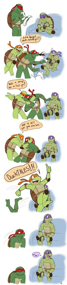 It's stuck by *C-Puff on deviantART this is awesome, TMNT and Duck Tales. Ninja Turtles Art, Teenage Mutant Ninja Turtles, Tmnt Comics, Tmnt 2012, Duck Tales, It Goes On, Fandoms, Geek Out, Kids Shows