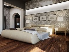 Interesting room...  That bed gives me ideas