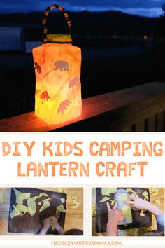 "Kids ""Rip and Stick"" Camping Lantern Craft (using a recycled container!) – The Crazy Outdoor Mama This fun camping lantern craft for kids is perfect for a camping theme classroom or party for littl Camping Diy, Camping Crafts For Kids, Backyard Camping, Camping Parties, Camping With Kids, Diy For Kids, Camping Hacks, Camping Ideas, Craft Kids"