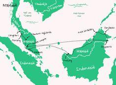 Backpack route door Maleisië.