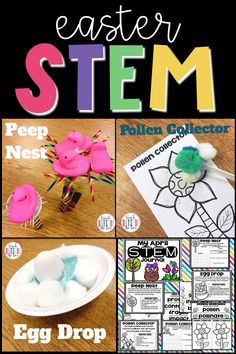 3 LOW PREP Easter STEM Challenges for Elementary students! Peep Nest, Pollen Collector, and Egg Drop | Spring STEM | April STEM Challenges