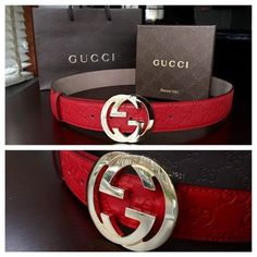1c296e4b707 All red Gucci belt men s still like new my boyfriend put the tag back on  but he did worn it like two times but is in perfect condition Gucci  Accessories ...
