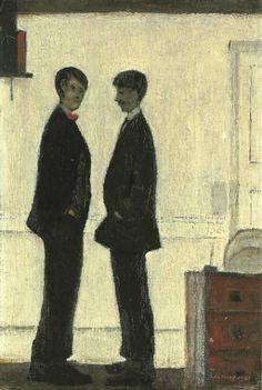 blastedheath:  L. S. Lowry (English, 1887-1976), Two men talking, 1941. Oil on board, 18½ x 12½ in.