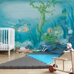 #Kindertapeten - Vliestapeten - Das #Seepferdchen bekommt Hilfe - Fototapete Breit #Kinderzimmerdeko #Wandgestaltung #Kids #Unterwasserwelt #Kinder
