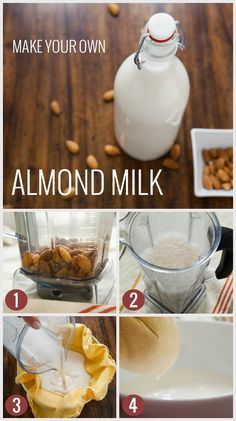 Make Your Own Almond Milk - Paleo Paisan Yummy Drinks, Healthy Drinks, Healthy Snacks, Yummy Food, Milk Recipes, Raw Food Recipes, Cooking Recipes, Juicer Recipes, Salad Recipes