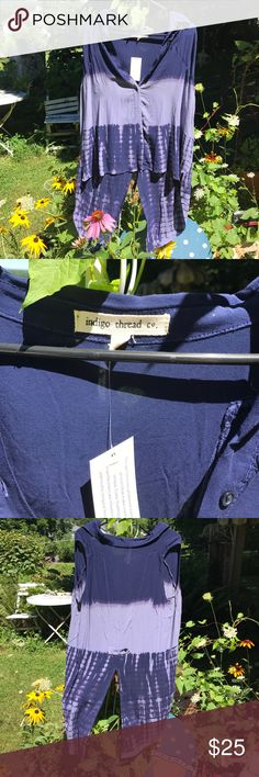New with tag indigo thread company shirt Offered here is a size large new with tags's indigo thread company shirt button down the front I. indigo thread company Tops Blouses