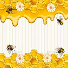 Buy Background with Bees and Honey by loradora on GraphicRiver. Beautiful Background with Bees,Honey, Flowers and Honeycomb