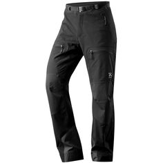 A traditional climbing pant. May want to size up- A soft shell for all seasons, Haglofs Flint pants are made of moisture-wicking four-way stretch fabric that keeps you dry while you ski, snowshoe or hike.