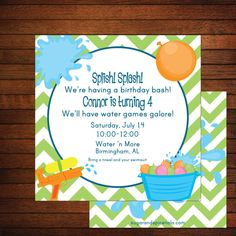 Pool Splash Water Birthday Party Invitation DIY with or without ...