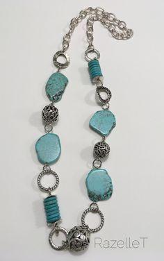 Long turquoise and metal neckpiece by RazelleT. Turquoise Bracelet, Personalized Items, Metal, Bracelets, Jewelry, Fashion, Hipster Stuff, Moda, Jewlery