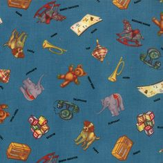 #ABC123 Toys on Blue Fabric #21622-12 by #AmericanJane for Moda Fabrics - only $7.99/yard in my store: http://lisasstitchingpost.com/product_info.php?cPath=1_64_160&products_id=1093