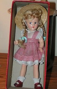 "Madame Alexander 1930's Mcguffy ANA Composition 9"" Doll w Box Bottom 