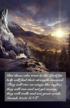 But those who trust in the Lord for help will find their strength renewed. They will rise on wings like eagles; they will run and not get weary; they will walk and not grow weak. (Isaiah 40:31 GNT)