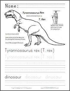 Tyrannosaurus Rex Coloring and Handwriting Practice Worksheet | Free to print…