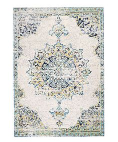 Blue Vintage Medallion Leola Rug #zulily, something like this for the living room