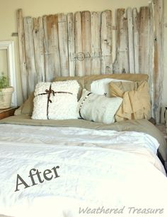 LOVE THIS. wanna do for guest room in OK.Weathered Treasure: Fence post headboard
