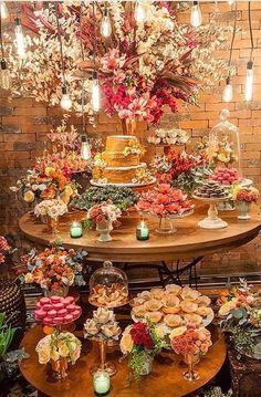 Ideas For Wedding Table Display Mini Desserts Food Table Decorations, Wedding Decorations, Rustic Table, Rustic Chic, Wedding Table, Rustic Wedding, Wedding Vintage, Trendy Wedding, Wedding Colors