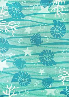 Designed by Andrea Brooks, this new aqua and turquoise swirled La Mer Shell area rug, highlighted with a bevy of undersea coral, seashells, and starfish images will create a sense of delight in any room in your beach home.