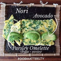 Food Matters - Nori Avocado Parsley Omelette: Are you looking for a new healthy breakfast idea that the whole family will love? Or maybe you are looking for a wheat/gluten free wrap alternative. here is our signature Food Matters breakfast wrap! Breakfast Sushi, Breakfast Wraps, Paleo Breakfast, Breakfast Recipes, Raw Food Recipes, Cooking Recipes, Healthy Recipes, Nori Wrap, Sushi Wrap