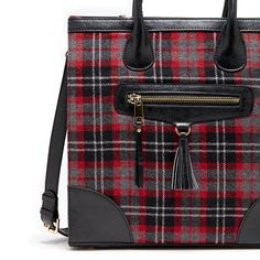 Women's Red Faux Leather Plaid Tote | Bessie by Sole Society