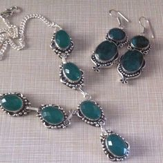 Gorgeous emerald green quartz necklace 19' long of pure beauty stamped 925 handcrafted  inlay gorgeous green faceted lab created stones NWOT FREE green quartz earrings included stamped also Jewelry Necklaces
