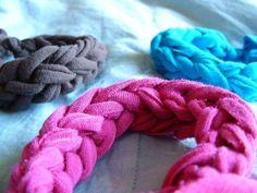 Finger knitting tshirt bracelets