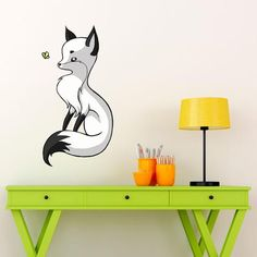 Digital Animal Art Wall Sticker Decal – Fox and a Butterfly by Indre…