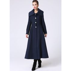 Long Blue Winter Coat Large Collar Mid-Calf Length Single Breasted... ($249) ❤ liked on Polyvore featuring outerwear, coats, black, women's clothing, long coat, calf length coat, tall coats, blue coat and collar coat
