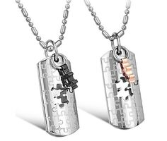 His or Hers Matching Set Titanium Couple Pendant Necklace Korean Love Style in a Gift Box