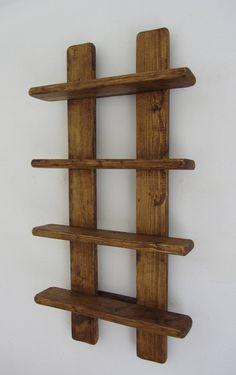 tall shabby chic rustic reclaimed wood 4 tier floating shelf / trinket shelves / display shelves / spice rack - Rustic old wood 4 tier floating display shelves. Handmade from recycled wood. Finished in antique b - Wooden Pallet Projects, Wood Pallet Furniture, Woodworking Projects Diy, Wooden Pallets, Wood Crafts Furniture, Modern Furniture, Recycled Timber Furniture, Handmade Wood Furniture, Furniture Design