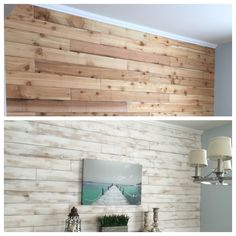 White washed wood wall made from cedar fence boards! White washed wood wall made from cedar fence bo White Washed Pine, White Wood, White Washed Wood Paneling, Cedar Paneling, Cedar Planks, White Cedar, Wood Planks, Wood Panel Walls, Wooden Walls