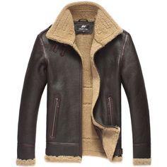 Mens Leather Jacket Men Shearling Jacket Sheepskin Outerwear ...