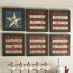 Love this idea! Would be a great DIY project using old ceiling tiles!!! 6-Piece Flag Wall Art from Through the Country Door®