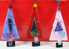 Retro  Fused Glass Christmas Tree Ornament.