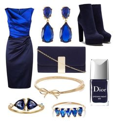 """""""Navy blue New Years"""" by rachel-w13 ❤ liked on Polyvore featuring Talbot Runhof, Casadei, Dorothy Perkins, Kenneth Jay Lane, Christian Dior, Kate Spade, Loren Stewart and WWAKE"""