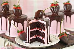 Chocolate-Covered Strawberry Cakes | From SugarHero.com