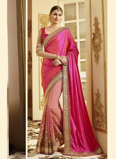 Light pink embroidered art silk saree with blouse