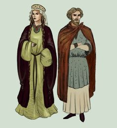 1100 - Britain Medieval dresses. Women uncover their hair and wear it in two braids. Men wear long tunics. Patterns are generally not used, the only exception being irregular dots. by Tadarida.deviantart.com on @DeviantArt