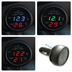 3 in 1 Digital LED car Voltmeter Thermometer Auto Car USB Charger 12V/24V Temperature Meter Voltmeter Cigarette Lighter -  http://mixre.com/3-in-1-digital-led-car-voltmeter-thermometer-auto-car-usb-charger-12v24v-temperature-meter-voltmeter-cigarette-lighter/  #CarChargers