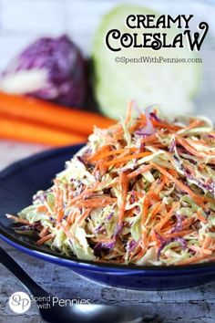 This really is the best Coleslaw Recipe!  Creamy, zesty and crunchy.. the perfect side for any BBQ & the perfect topper for pulled pork or burgers!