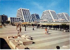 """The Saint Clair buildings ensemble, a part of """"La Grande Motte"""", a town which has been constructed between the and to provide French the ability to massively enjoy sea leisure. Montpellier, La Grande Motte, France, Paris, Urban Planning, Modern Buildings, Postmodernism, Brutalist, Provence"""
