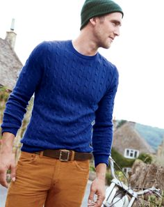 How to Wear a Blue Cable Sweater For Men looks & outfits) Cable Sweater, Men Sweater, Cable Knit, Vogue, Brown Leather Belt, Brown Belt, Sharp Dressed Man, Men Looks, Swagg