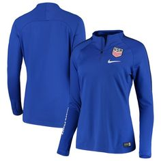 Women's Nike Blue USWNT Squad Drill Quarter-Zip Pullover Jacket World Cup Jerseys, Soccer Outfits, Lightweight Jacket, Full Zip Hoodie, Nike Women, Jackets For Women, Squad, Drill, Sweatshirts