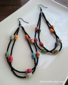 Paper Bead Earrings / Colorful / Fair Trade Beads / Black Hooks / One of a Kind