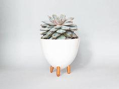 Ceramic white tripod planter with golden legs/ three legged