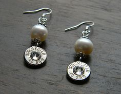 Lustrous Pearl Bullet Earrings! Pearls and Guns! Every Southern Lady should have a pair of these!
