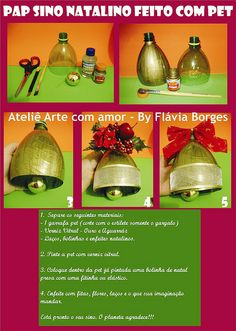 Pap sino feito com pet by Arte com amor - By Flávia Borges, via Flickr.  This is a great tutorial even if you don't speak Portuguese :) Wonderful idea!